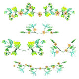 Set with frame borders, floral decorative ornaments with watercolor flowers, leaves and branches for wedding or or other holiday Royalty Free Stock Image
