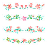 A set with the frame borders, floral decorative ornaments with the watercolor flowers, leaves and branches for a wedding Royalty Free Stock Photo