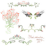 Set with frame borders, floral decorative ornaments with watercolor flowers, leaves and branches for wedding. Set with frame borders, floral decorative ornaments Royalty Free Stock Photo
