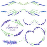A set with the frame borders, floral decorative ornaments with the watercolor lavender flowers for a wedding or other decoration Royalty Free Stock Image