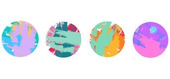Set frame color circles brush stroke stock illustration