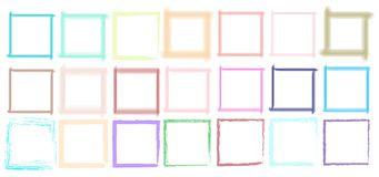 Vector paint, set color squares brush stroke, brush, line or texture