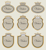 Set  frame with crowns. Set  frame with golden crowns and pearls Stock Photo