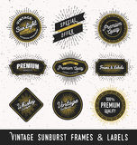 Set of frame and label with vintage sunburst design. Vintage light ray sticker and banner collection for premium quality product. Vector illustration Royalty Free Stock Photos