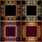 Set of frame with lace square ornament Royalty Free Stock Photo