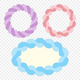 Set. Frame made of woven rope. Vector elements on isolated transparent background. stock illustration