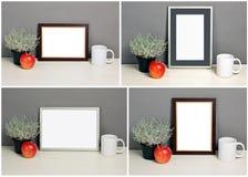 Set of frame mockup with plant pot, apple, mug Stock Images
