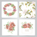 Set of frame, pattern, and illustrations with spring flowers Royalty Free Stock Images