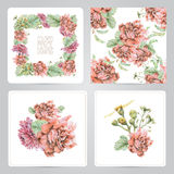 Set of frame, pattern, and illustrations with spring flowers Royalty Free Stock Photo