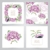 Set of frame, pattern, and illustrations with spring flowers Stock Photography
