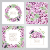 Set of frame, pattern, and illustrations with spring flowers Royalty Free Stock Photos