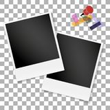 Set frame retro photo on transparent isolated background. Vintage blank old photography. Square picture . Vector illustration Royalty Free Stock Photography
