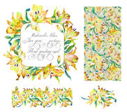 Set with frame, seamless pattern, frieze  and other elements. Ye Royalty Free Stock Photos