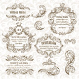 Set  frame and vintage design elements Stock Photo