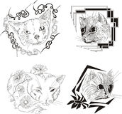 Set of framed cat sketches Stock Photography