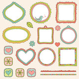 Set of frames. Set of hand drawn elements Stock Images