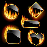 Set of frames. With flames of different shapes on a black background. EPS10. Mesh Stock Image