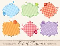 Set of frames. Set of textile frames, scrapbook design elements Stock Photography