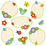 Set of frames. Frames with flowers and butterflies Stock Image