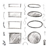 Set of frames, arrows and symbols drawn with a pencil. Black and Royalty Free Stock Photo