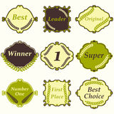 Set of frames and badges. First place, winner, best choice, numb. Flat design number one first place winner frames and badges. Vector illustration Royalty Free Stock Photography
