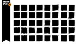 A set of frames, black squares, textural lines, also brushes. vector illustration