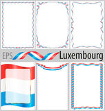 Set of 6 frames and borders with coloring Luxembourg flag Stock Images