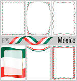 Set of 6 frames and borders with coloring Mexico flag Royalty Free Stock Images