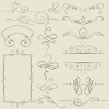 Set. Frames and borders. Hand drawing Royalty Free Stock Photos