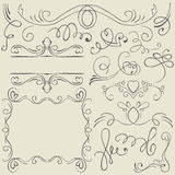 Set. Frames and borders. Hand drawing Stock Photography