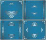Set of frames and cards. Seamless wallpaper in blue with vintage silver decoration Stock Image