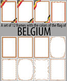 Set of 12 frames with the colors of the flag of Belgium Royalty Free Stock Photography