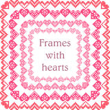 Set of frames with embroidered hearts Stock Image