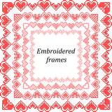 Set of frames with embroidered hearts Royalty Free Stock Photography