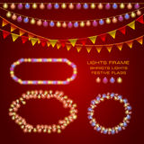 A set with frames of  festive garlands, bright lights and flags. Royalty Free Stock Photo