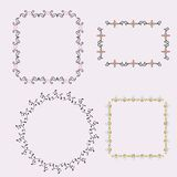 Set of frames with floral element. Vector illustration Royalty Free Stock Photos