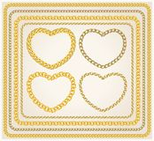 Set of frames golden chains Royalty Free Stock Image