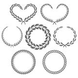 Set frames laurel wreaths in a gray color space. Stock Photo