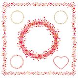Set of frames made from hearts. Collection wreaths hearts Stock Photos