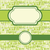 Set of frames with painting of green grass Stock Image