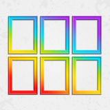Set of frames rainbow. Set of colorful wooden frames. Wooden square picture frames of colorful set for your web design. Abstract colorful picture frames on Stock Image