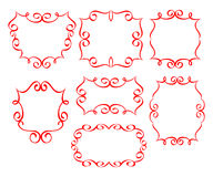 Set frames .Red on white background. Stock Photos
