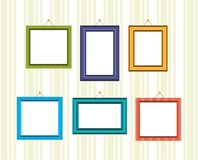 Set of frames for reward and photos in different colors. Set of retro frames for reward and photos in different colors and textures, hanging on the wall. Vector Royalty Free Stock Photography