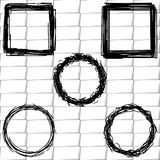 Set frames sketch, outline. Frame, on a background of white brick wall for pictures Royalty Free Stock Image