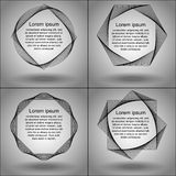 Set of frames of the spirograph figures. Abstract geometric forms and curves. Template text Lorem Ipsum for sample. Gradient background and realistic shadows Royalty Free Stock Photo
