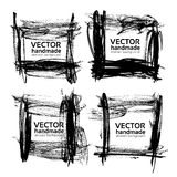 Set of frames from textured thick strokes of black paint Royalty Free Stock Photo
