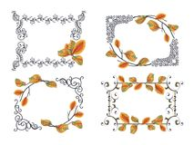 Set of frames frames with autumn leaves. Set of frames with vignettes in Victorian style and autumn leaves. Great to for design greeting cards, texts,quotes Royalty Free Stock Image