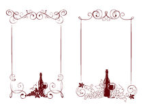 Set of frames -- vine and a wine bottle Royalty Free Stock Images