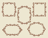 Set frames .Vintage .Well built for easy editing.Brown. Royalty Free Stock Photography