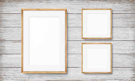 Set of frames on wooden background Royalty Free Stock Photography